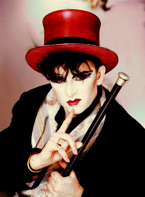 Steve Strange from Visage and one of his totally dazzling New Romantic ensembles.