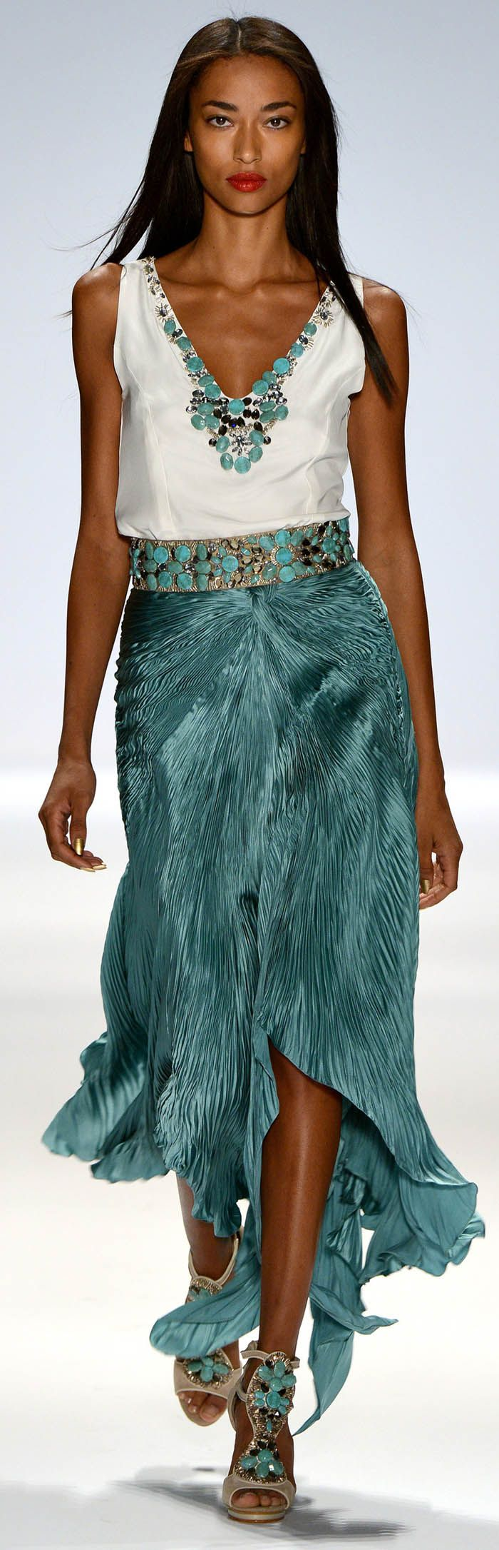 Beautiful Teal Color skirt -Carlos Miele Spring Summer 2013 Ready-To-Wear Collection -