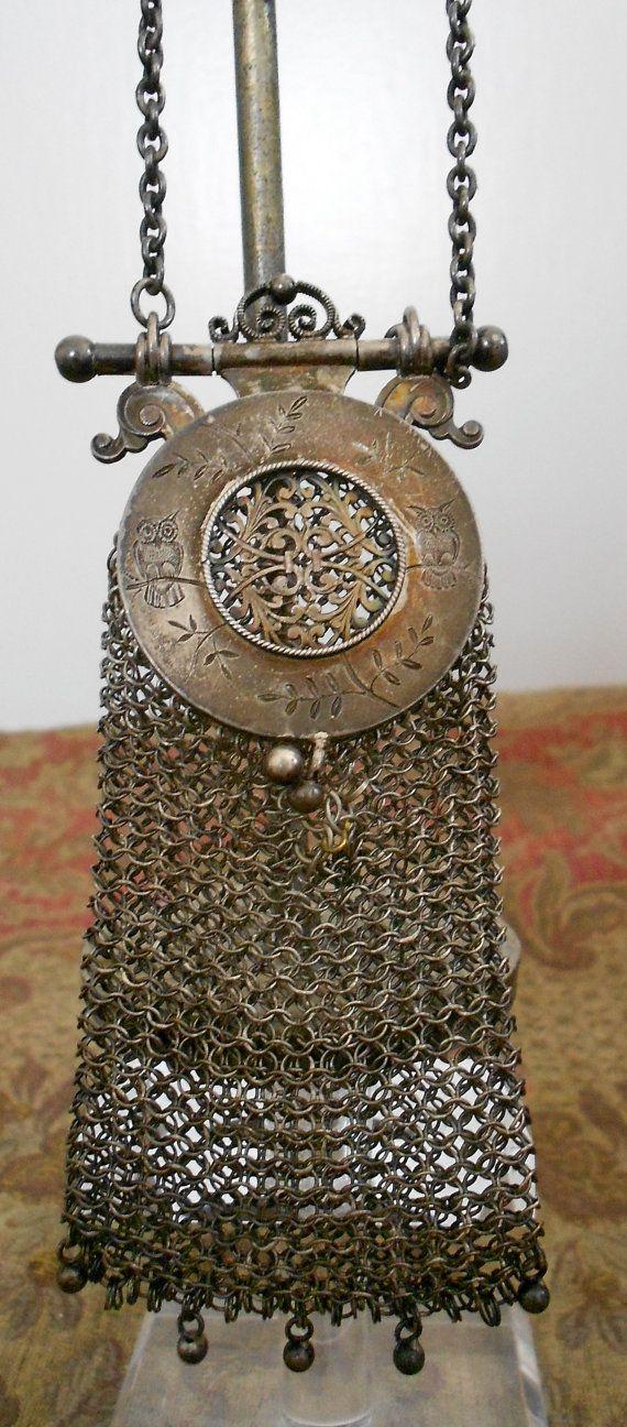 Vintage Silver Chatelaine Asian Mesh Purse