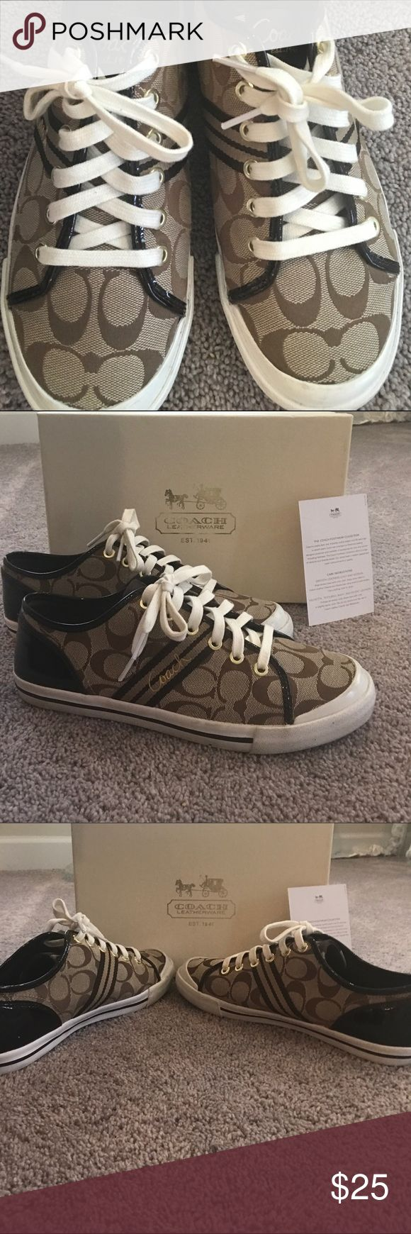 Coach sneakers Great authentic coach sneakers size 9.5 in great condition as you can see in pics only worn a few times very comfortable little to no ware great pair of shoes Coach Shoes Sneakers
