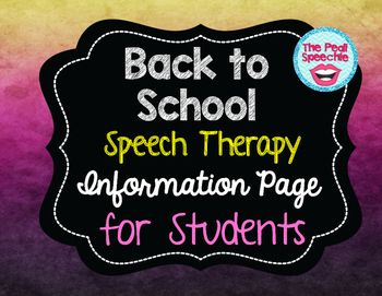 speech therapy information For more information about being seen for speech and language therapy, please use the form on the contact page to request an information pack upon request, information about fees structure and types of sessions will be sent to you, via royal mail or email, as well as brief outlines of various policies.