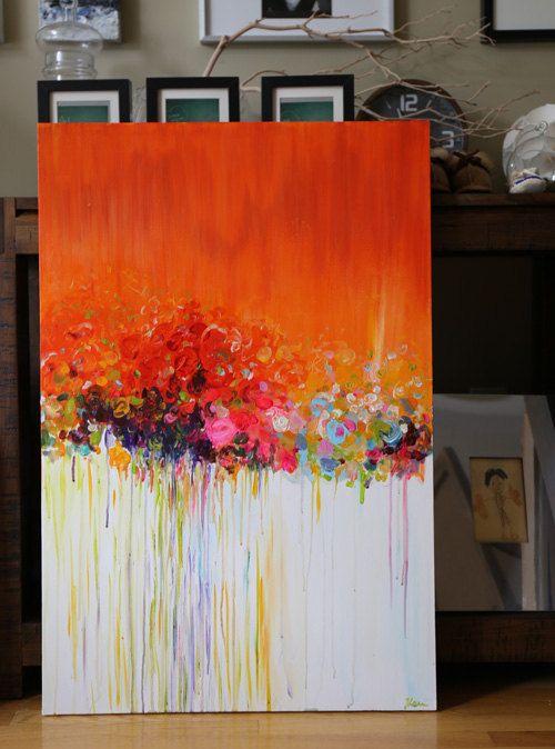 Pintura abstracta ORIGINAL paisaje abstracto de por artbyoak1
