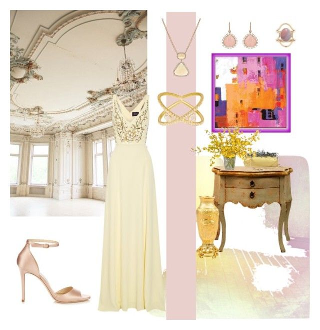 """""""Elegance in Yellow and Pink"""" by christined1960 ❤ liked on Polyvore featuring Notte by Marchesa, Jimmy Choo, Prada, Judith Leiber, The French Bee, Irene Neuwirth, SUSAN FOSTER, Mociun and holidaypartydress"""