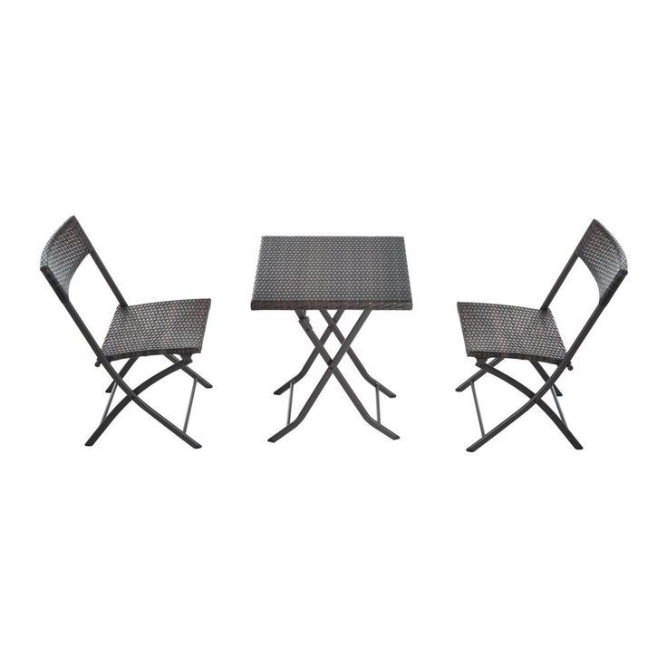 Rattan Garden Furniture Bistro Set Outdoor Patio Coffee Table Two Chairs Brown