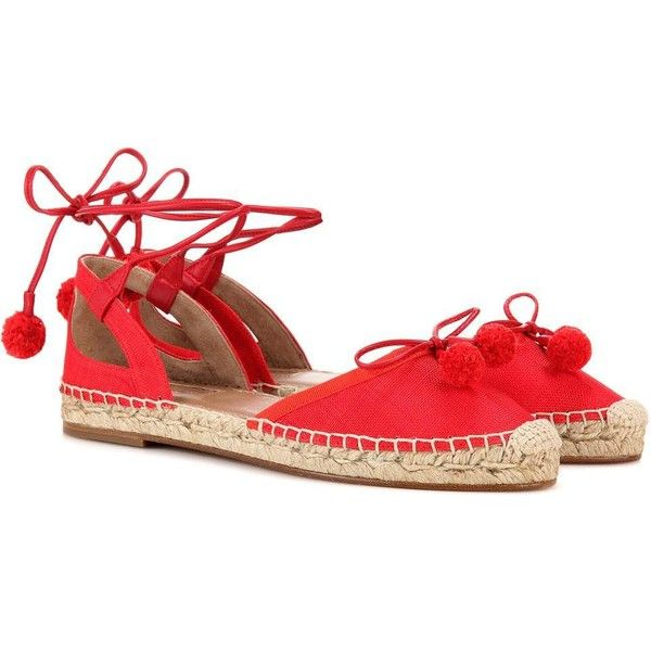 Aquazzura Palm Beach Espadrilles (585 CAD) ❤ liked on Polyvore featuring shoes, sandals, red, espadrilles shoes, red espadrilles, beach shoes, red espadrille shoes and red shoes