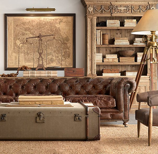 Restoration Hardware - pinning for inspiration - love the look - map, scales, weathered shelf, tripod lamp, trunk as coffee table