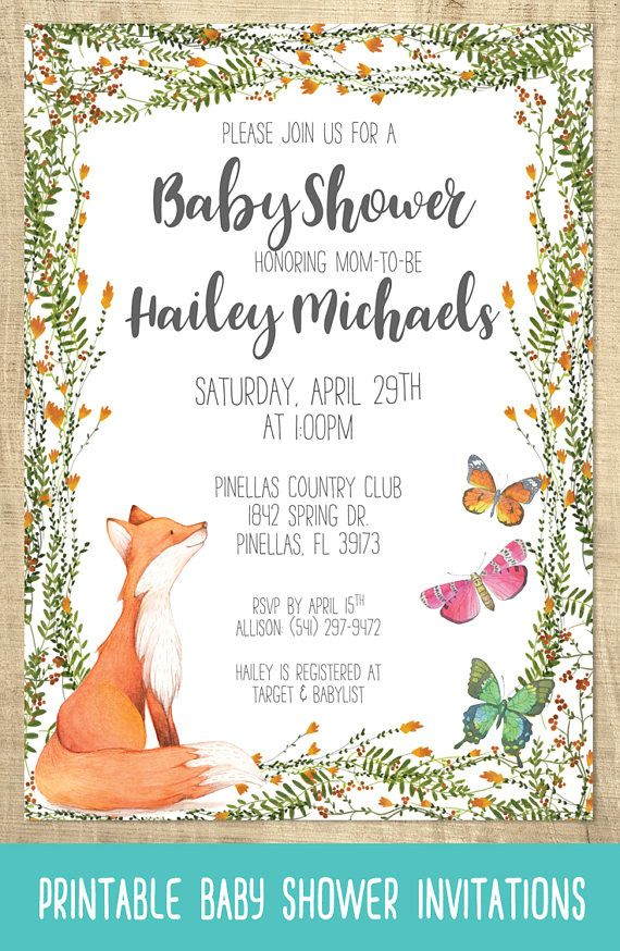 Printable Invitations Fox And Erfly Baby Shower In 2019