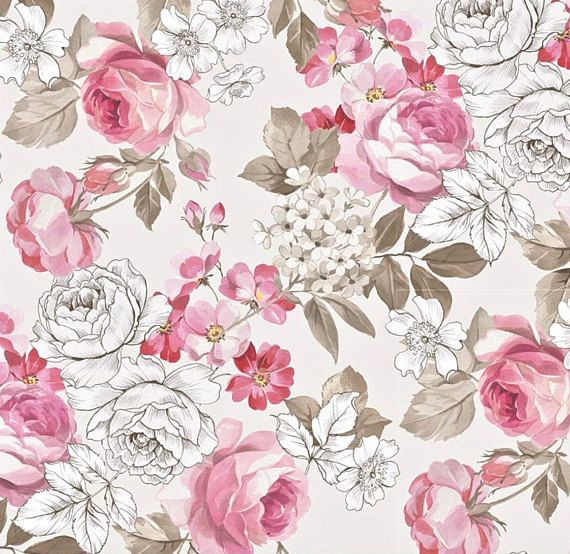 100/% cotton rose fabric vintage style green grey rose quilting craft patchwork