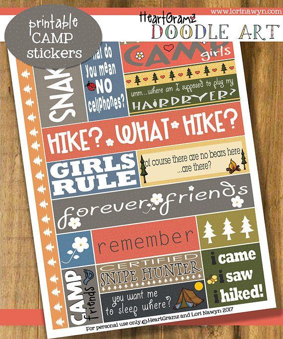 HeartGramz Doodle Art  Printable Camp Stickers  Sheet 1 - $3.00 on Etsy #illustration #lorinawyn #artlicensing
