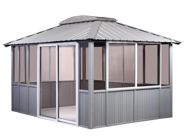10 x 14  Coastal Gray Gazebo:  Enclosed,  with sliding door on the left,  Add a bar and three bar stools on the left,  And a sliding door on the right.