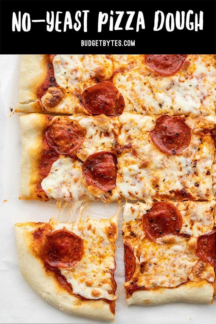 Easy No Yeast Pizza Dough Recipe Budget Bytes Recipe In 2020 Pizza Recipes Dough No Yeast Pizza Dough Pizza Dough Recipe Easy