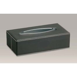 Solid brass tissue box with oval chrome ring covered in stylish brown leather and cream stitching