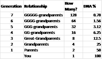 Ancestral DNA Percentages