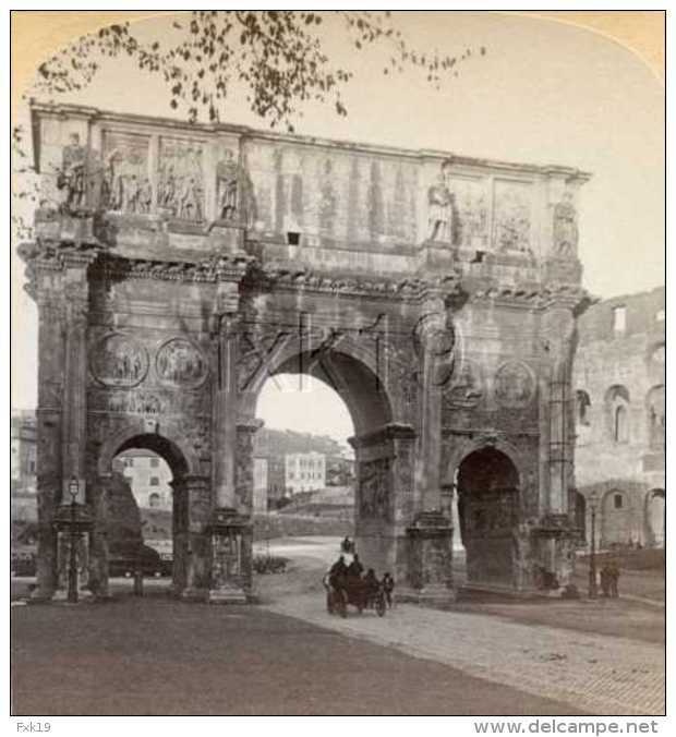 Italy ~ ROME ~ Triumphal Arch Of Constantine Stereoview It28