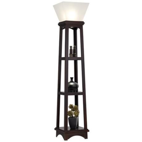monaco espresso 3 shelf etagere torchiere floor lamp With etagere torchiere floor lamp
