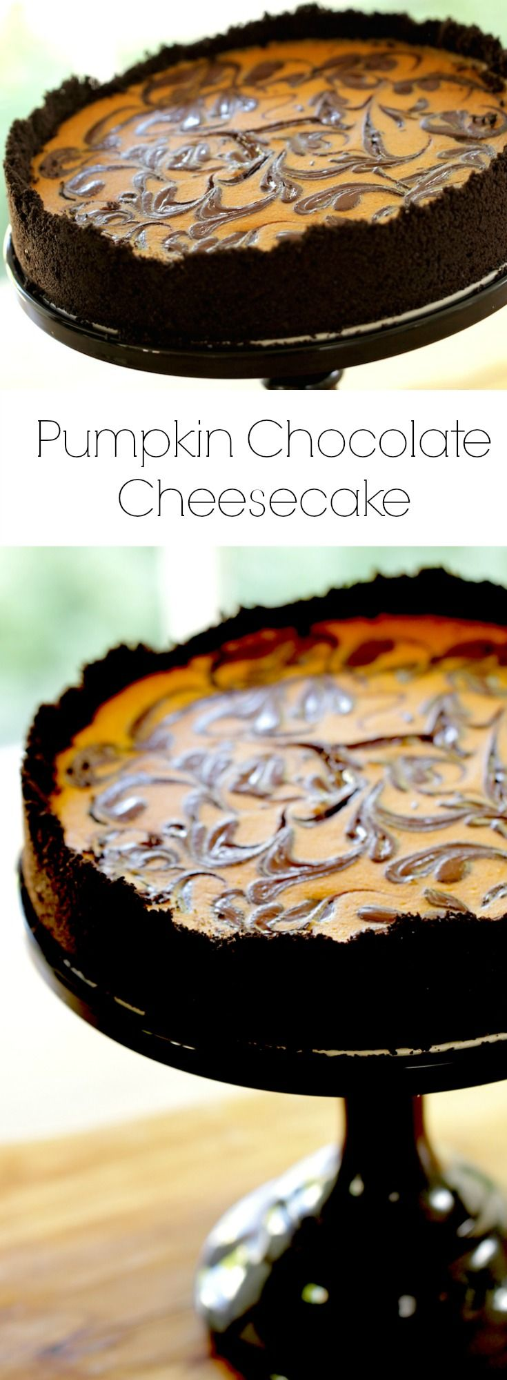 Pumpkin Cheesecake with Chocolate Swirl. A Halloween dessert Idea that is as beautiful as it is delicious. Includes Recipe Video too.