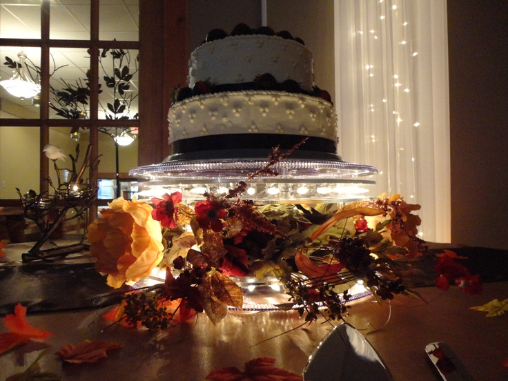 Our beautiful Lola illuminated cake display.  Available for rent at www.AglowWeddings.com