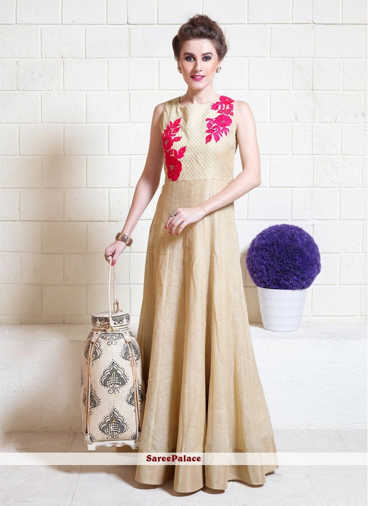 Beige Jute Silk Resham Work Designer Gown