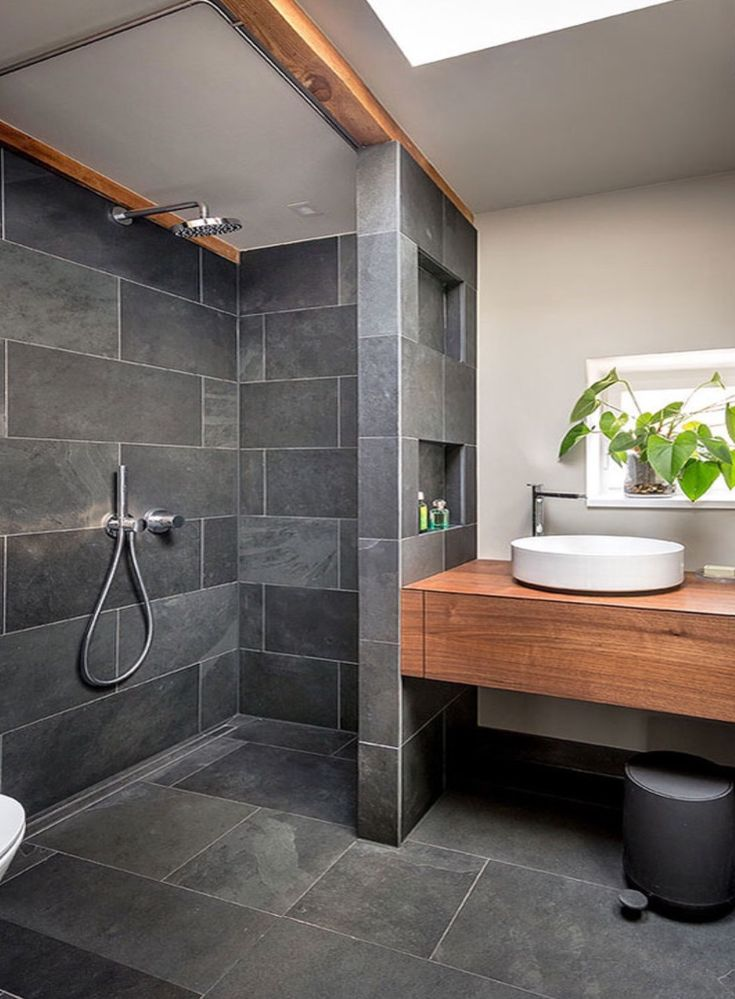 Love this dark shower stall! Get the look using the Ames Archistone series – Ideen