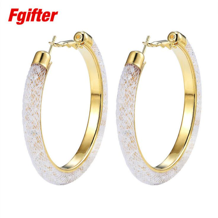 Bright 60mm Large Hoop Earrings for Women Gold Plated Hoops 18 Colors Crystal Earring Women Jewelry