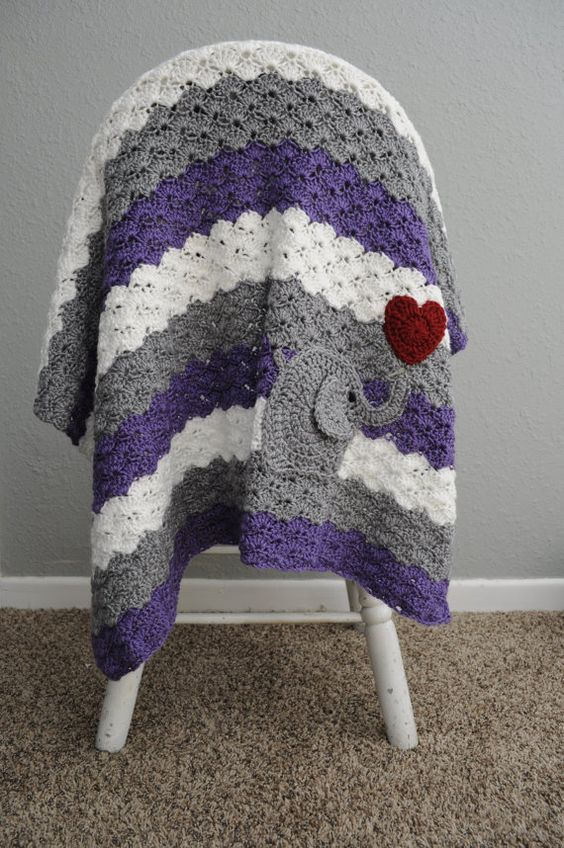Crochet Baby Blanket Purple and Grey by TraedensTradingShop: