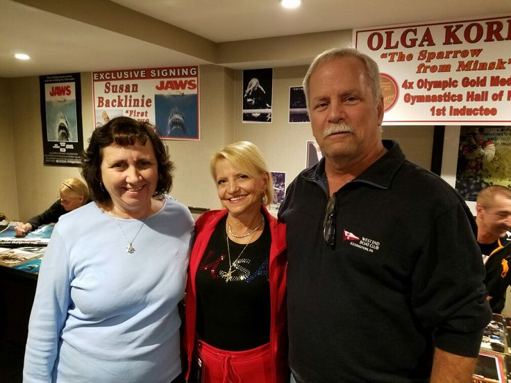 My mom and dad pose with Olympic gold medal winner Olga Korbut at the Chiller Theatre Convention at the Hilton Parsippany Hotel in Parsippany, New Jersey.
