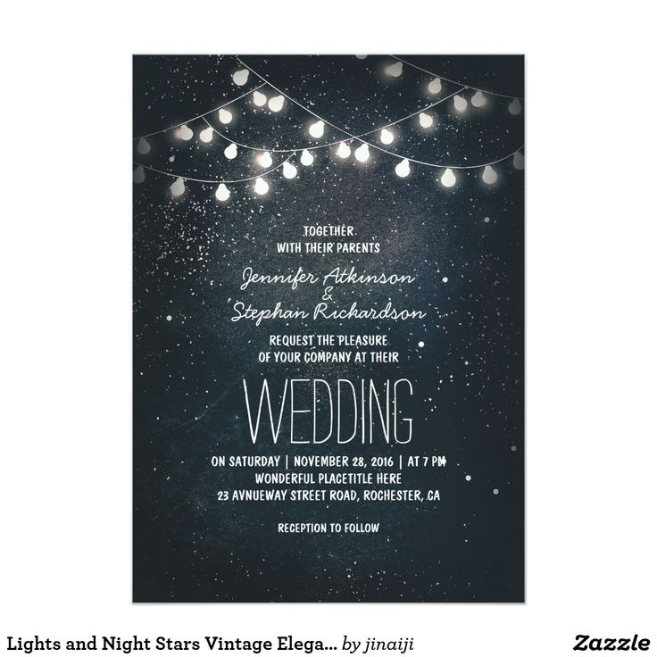 indian wedding cards wordings in hindi%0A Lights and Night Stars Vintage Elegant Wedding Card