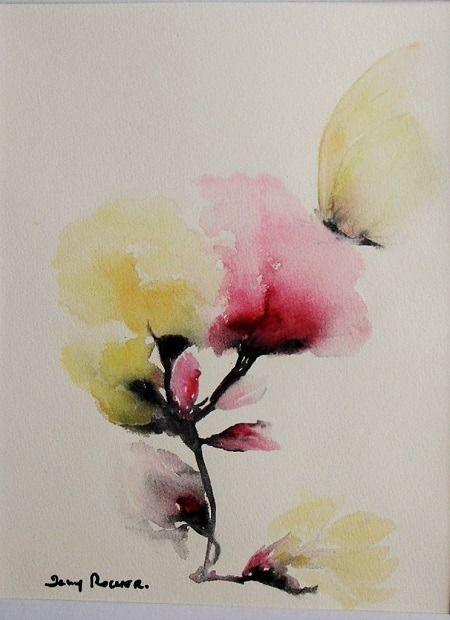 tableau bouquet fleur fleur de coton peinture aquarelle sur papier 300g bouquets. Black Bedroom Furniture Sets. Home Design Ideas