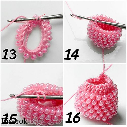 tubular bead crochet - sections of plain crochet