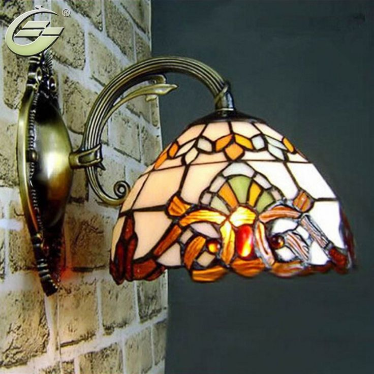 Modern Baroco Style Wall Light Antique Lighting Stained Glass Shade for Aisle Wall Lamp lighting Fixtures,Free Shipping