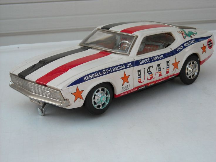Vintage Japan Tin Litho Taiyo Bruce Larson Ford Mustang USA 1 Car #Taiyo