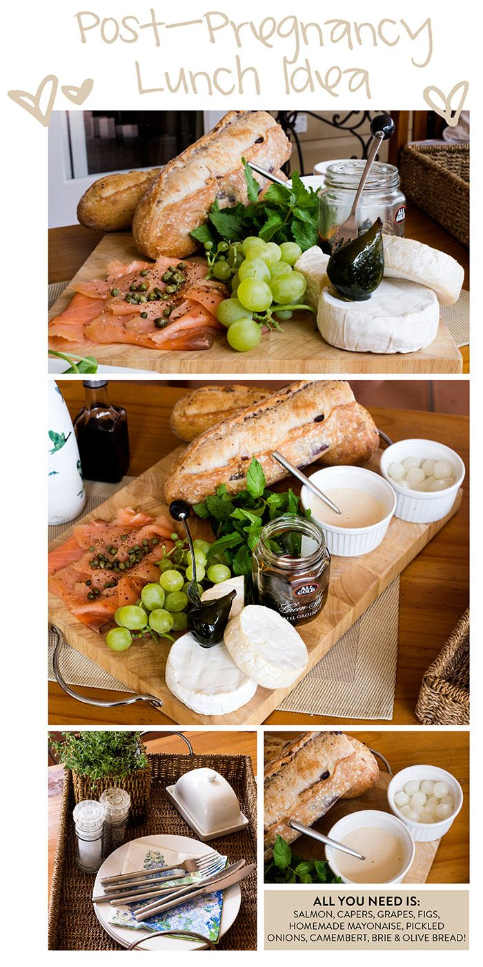 salmon, camambert, lunch, post-pregnancy