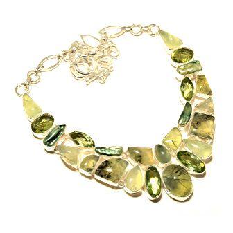925 Sterling Silver Jewelry with Prhenite Genuine Gemstones, Biwa Pearl and Green Amethyst (lab) Statement Bib Necklace!! by Ameogem on Etsy