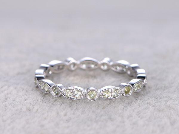 Peridot Wedding Ring 14k White Gold Antique Art Deco Full Eternity Band August Birthstone Ring Antique Wedding Rings August Birthstone Ring Antique Wedding Bands