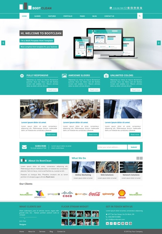 BootClean – BootStrap Business Template http://www.mojo-themes.com/item/bootclean-bootstrap-business-template/