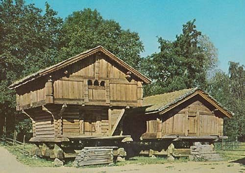 Telemark Farm Farming Store House 1300 Loft Norway Norwegian Photo Postcard