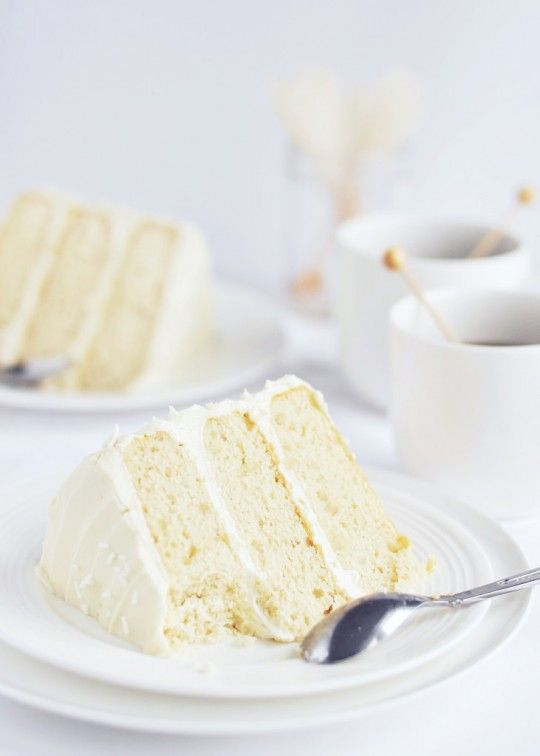 Homemade White Wedding Cake with White Chocolate Frosting ...