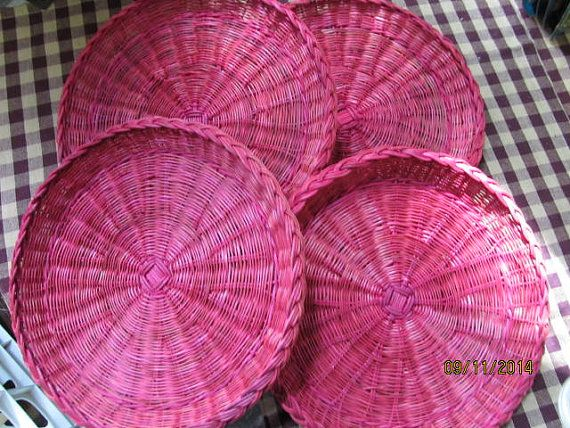 Vintage Set of 4 Wicker Straw Woven Paper Plate Holders Red Picnics Parties Cookouts BBQ Rattan & 96 best Very VTG Kitchen Paper Plate Holders images on Pinterest ...