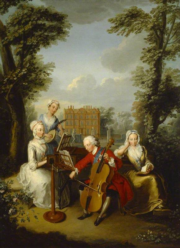 1733 Philip Mercier - Frederick, Prince of Wales and his Sisters at Kew Cliveden, Buckinghamshire