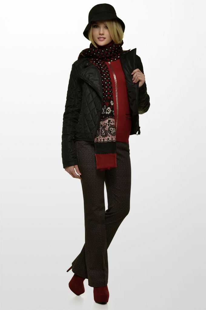 Sarah Lawrence - quilted side zip jacket, short sleeve collar neck sweater with foil print, jacquard straight leg pant, printed scarf.