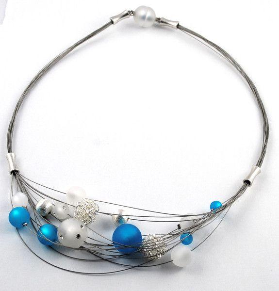 Colliers - üppiges Mehrstrangcollier Elisa mit Polaris Perlen - ein Designerstück von mias-dekostube bei DaWanda