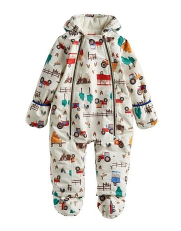 #joules #christmas #wishlist  Joules null Baby Boys Snow Suit, Cream Farm.                     As the cool months draw in this little snowsuit will keep him warm, cosy and protected from the elements. Great for first forays into the snow. In an only-at-Joules print and with turn back mittens and removable feet.