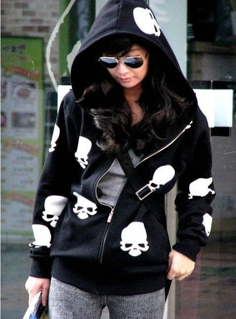 women clothing women skull design coat ,women long sleeve hoodies,Zipper coat retail Free shipping
