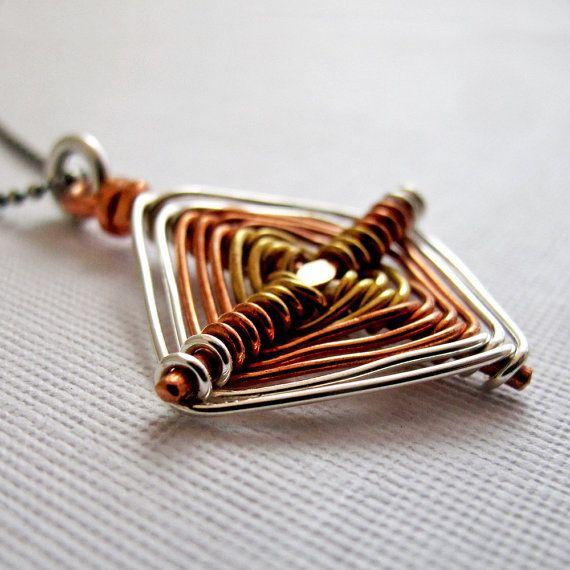 God's Eye Ojo de Dios Necklace Sterling, Copper, Brass, by NinaGibsonDesigns on etsy