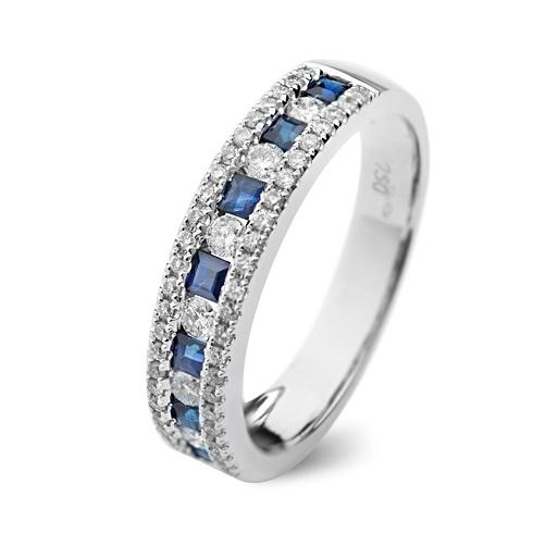 Inel cu safire si diamante C107