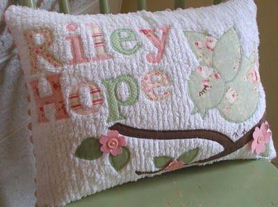 appliqued chenille pillow