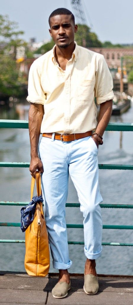 http://www.swagscent.com/ Perfect combination of color and accessories to just make people stop and look. Pastels work beautifully here - light yellow rolled up shirt with a light blue (baby blue for some of you) chinos. Go strong on the accessories. The slip-ons completes a casual feel.