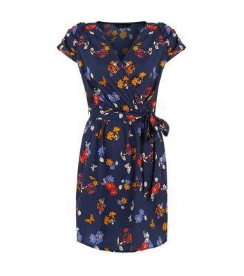 Navy Floral Print Wrap Dress