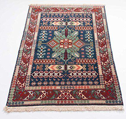 schewan, pezzo unico opere d' arte Tappeto Orientale Annodato a mano per soggiorno corridoio camera da letto, 100% lana vergine, 103x 145cm, Rosso
