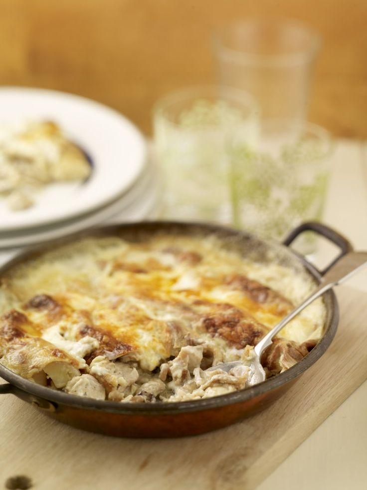 Wild Mushroom and Chicken Crepe Bake - Kevin Dundon